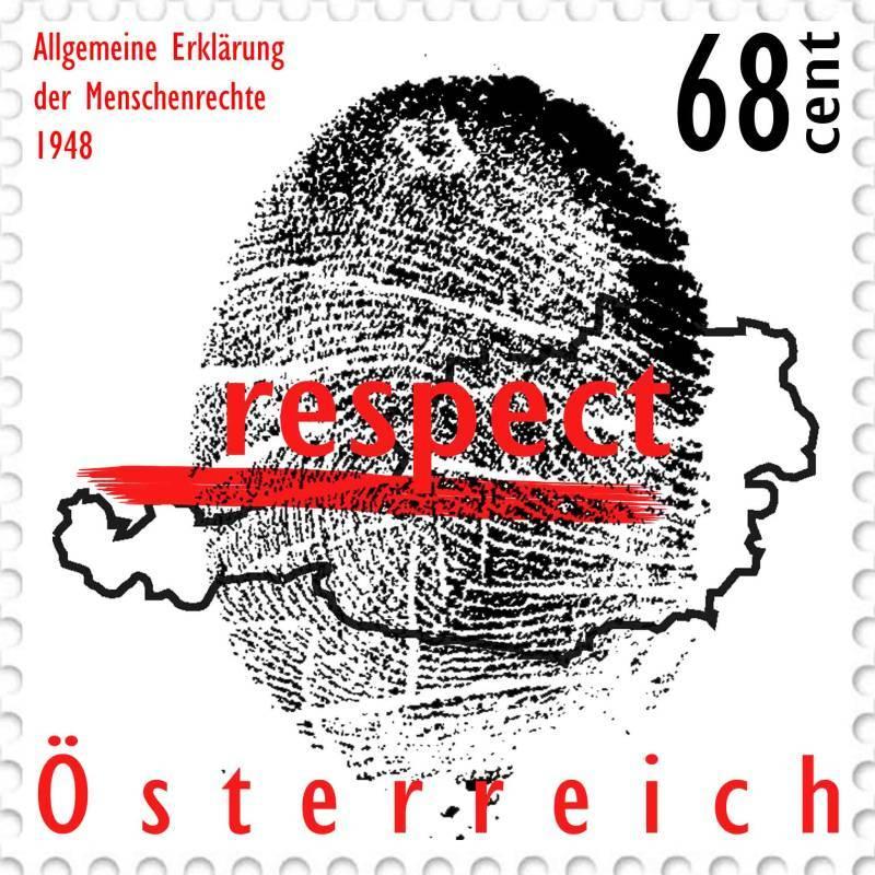 Design Briefmarke Österreich Menschenrechte