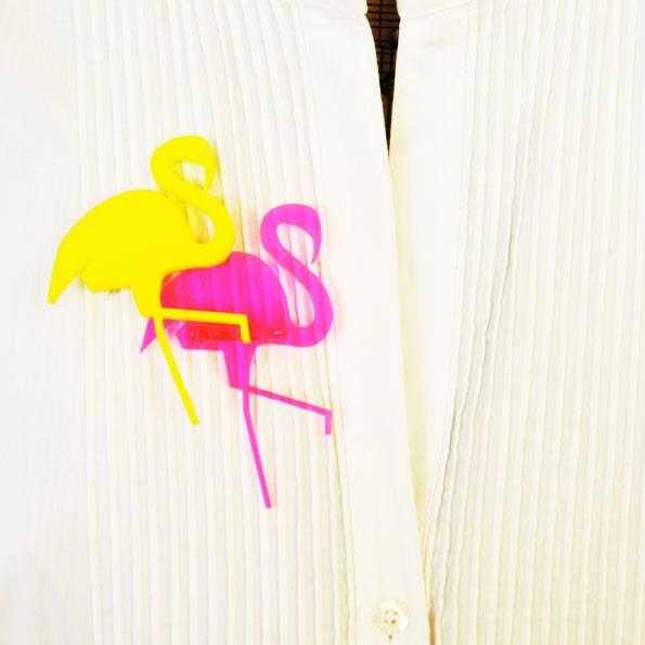 Brosche Design Acryl Flamingo